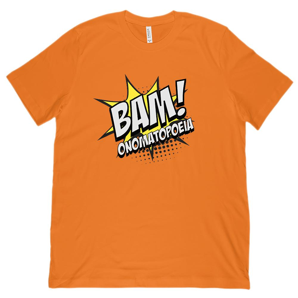 (Unisex BC 3001 Soft Tee) BAM! Onomatopoeia Funny English Teacher Tee Graphic T-Shirt Tee BOXELS