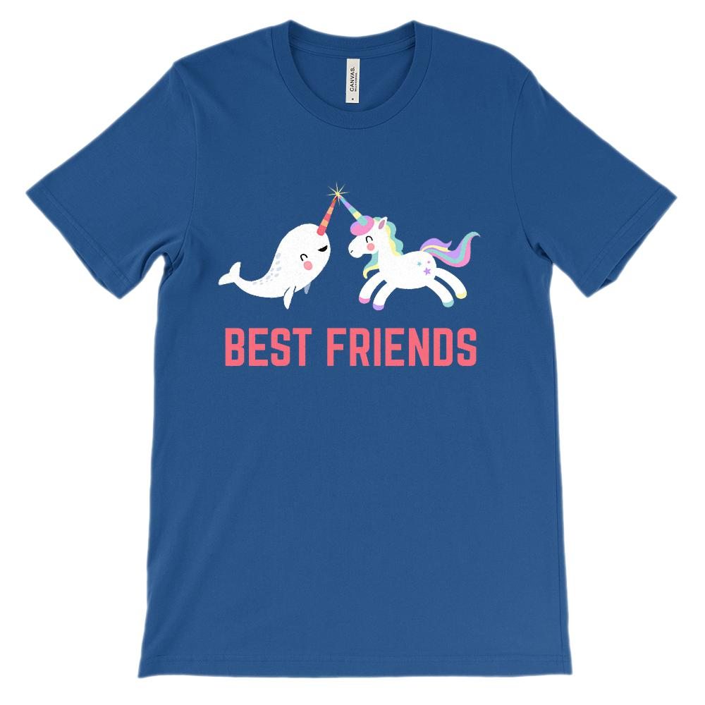(Unisex BC 3001 Soft Tee) Best Friends Unicorn Narwhal (Fuchsia) Graphic T-Shirt Tee BOXELS