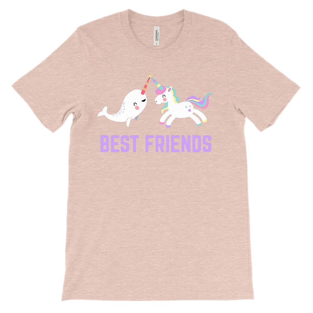 (Unisex BC 3001 Soft Tee) Best Friends Unicorn Narwhal (Lavender) Graphic T-Shirt Tee BOXELS