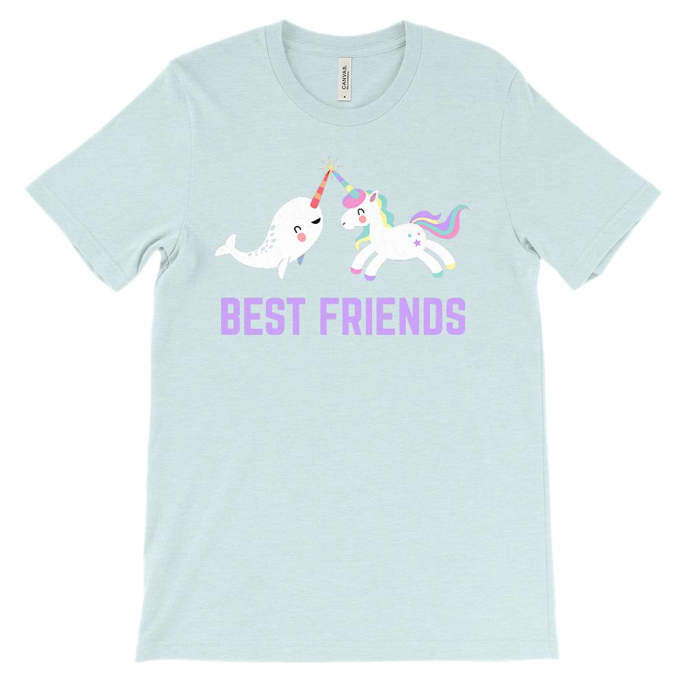 (Unisex BC 3001 Soft Tee) Best Friends Unicorn Narwhal (Lavender)