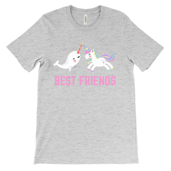 (Unisex BC 3001 Soft Tee) Best Friends Unicorn Narwhal (Pink) Graphic T-Shirt Tee BOXELS
