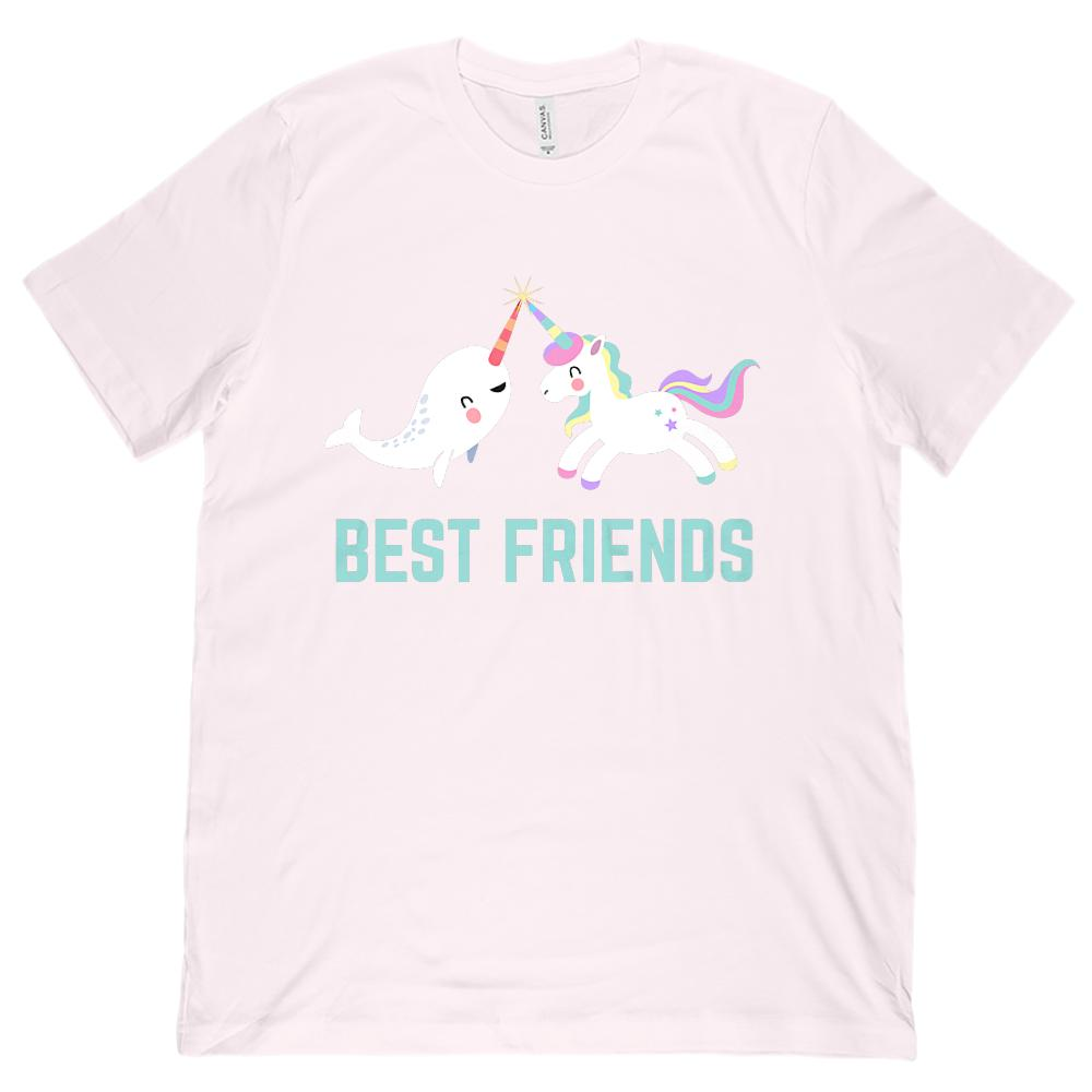 (Unisex BC 3001 Soft Tee) Best Friends Unicorn Narwhal Rainbow Magical Graphic T-Shirt Tee BOXELS