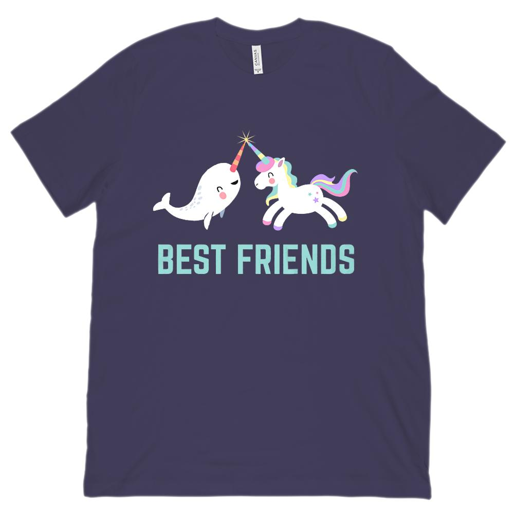 (Unisex BC 3001 Soft Tee) Best Friends Unicorn Narwhal Rainbow Magical