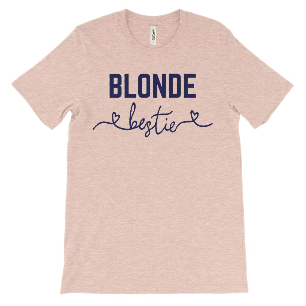 (Unisex BC 3001 Soft Tee) Bestie Hair Color Blonde (Navy Font) Graphic T-Shirt Tee BOXELS