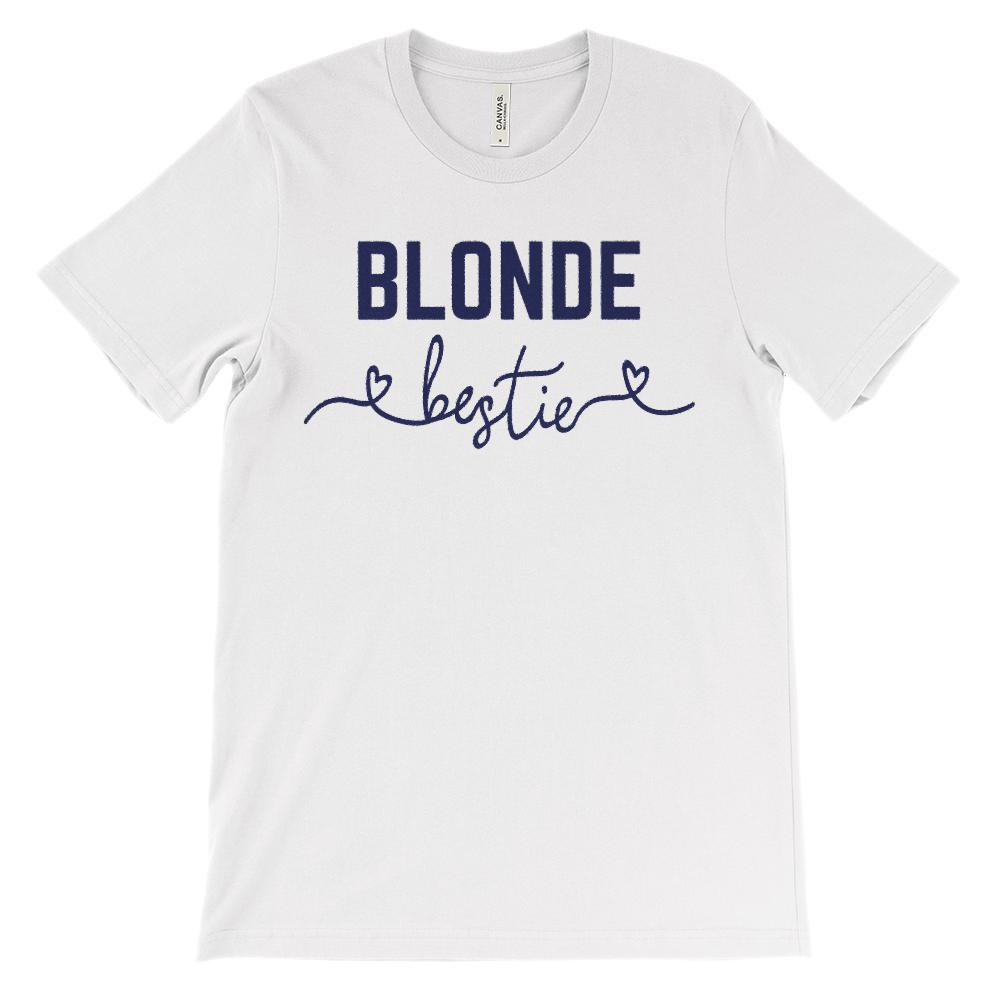(Unisex BC 3001 Soft Tee) Bestie Hair Color Blonde (Navy Font)