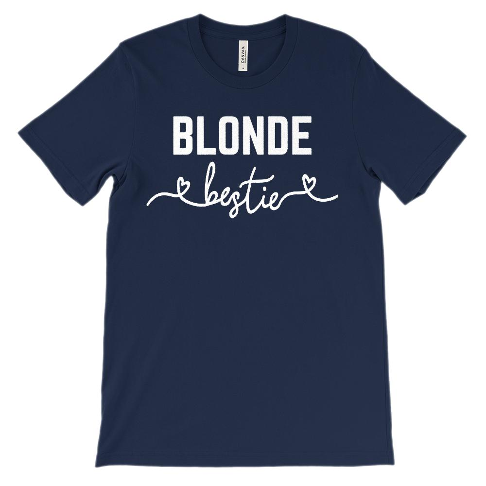 (Unisex BC 3001 Soft Tee) Bestie Hair Color Blonde (White Font)