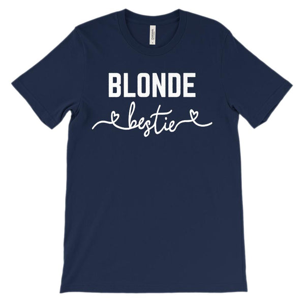 (Unisex BC 3001 Soft Tee) Bestie Hair Color Blonde (White Font) Graphic T-Shirt Tee BOXELS