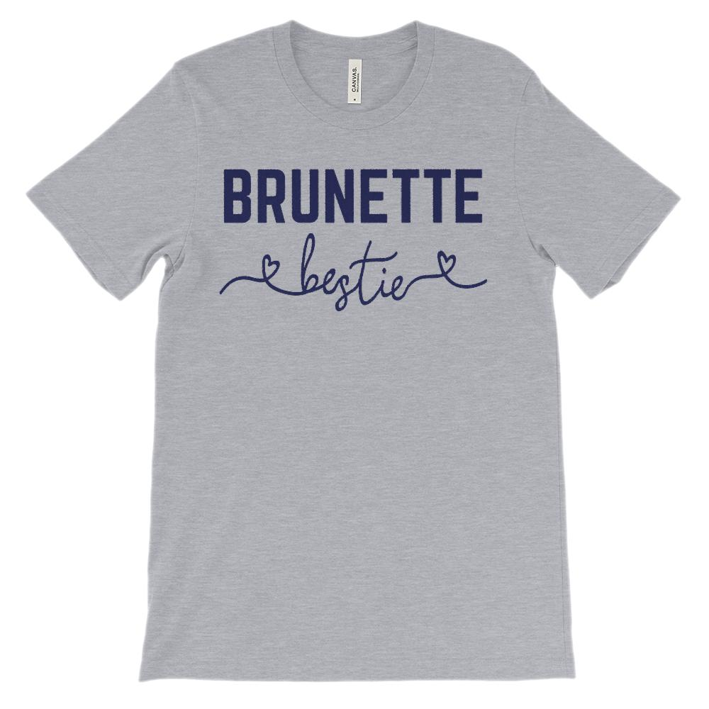 (Unisex BC 3001 Soft Tee) Bestie Hair Color Brunette (Navy Font) Graphic T-Shirt Tee BOXELS