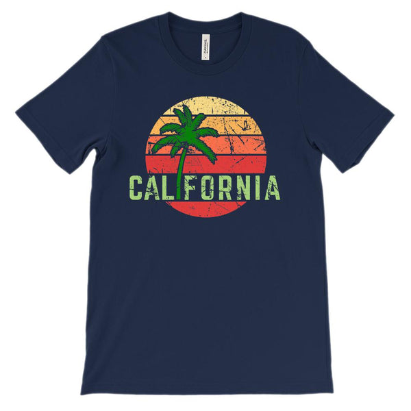 (Unisex BC 3001 Soft Tee - Blues) California Palm Sunset Graphic T-Shirt Tee BOXELS