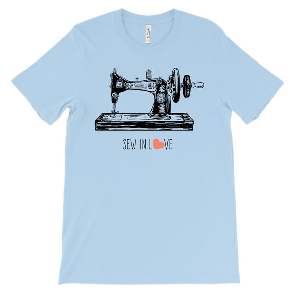 (Unisex BC 3001 Soft Tee - blues) Sew in Love Graphic T-Shirt Tee BOXELS