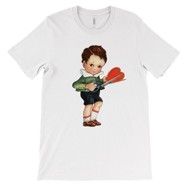 (Unisex BC 3001 Soft Tee) Boy Cutting Valentine Heart Vintage Graphic T-Shirt Tee BOXELS