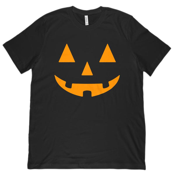 (Unisex BC 3001 Soft Tee) Bright Orange Pumpkin Carved Smiling Face Halloween Graphic T-Shirt Tee BOXELS