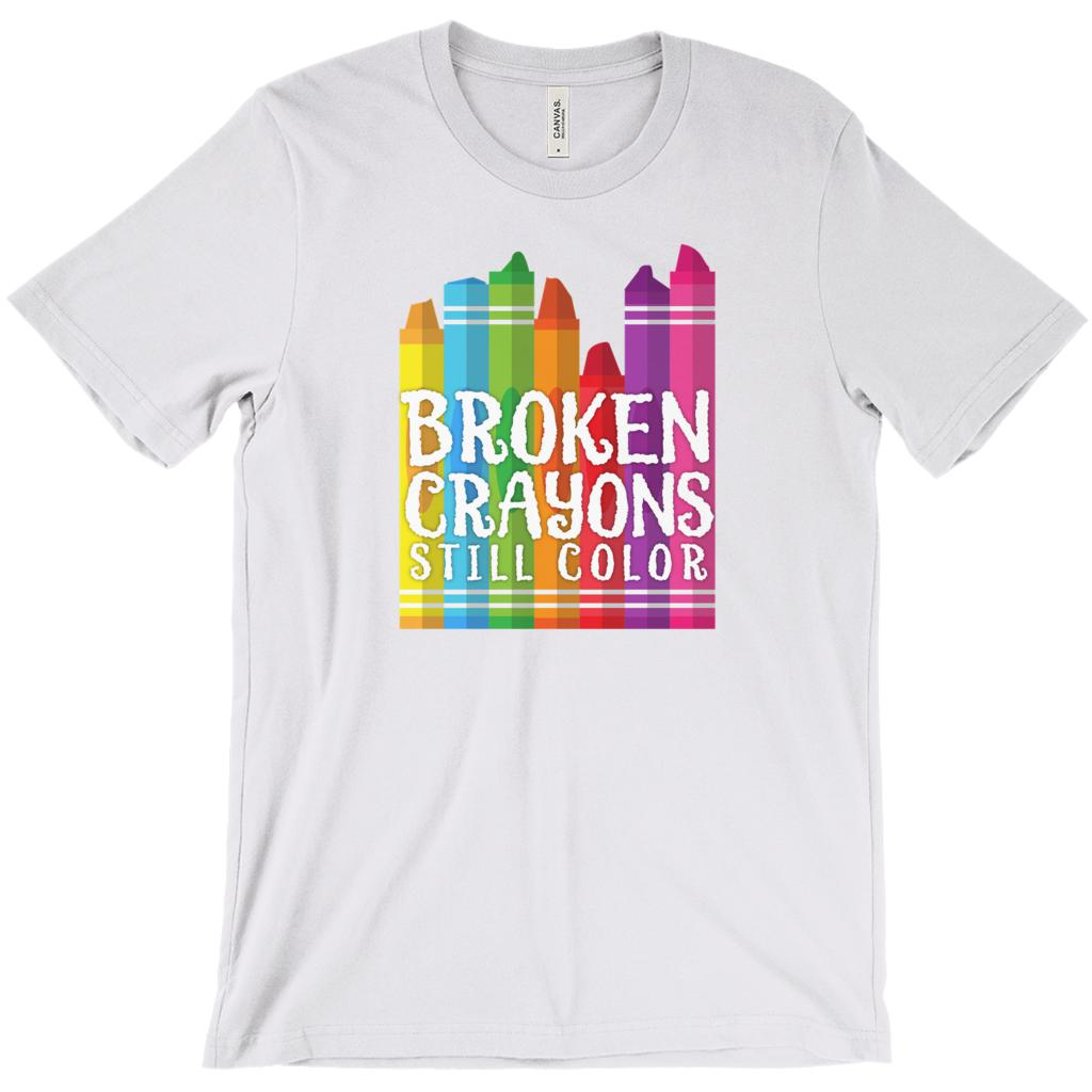 (Unisex BC 3001 Soft Tee) Broken Crayons Still Color (Ash, Purple, Brown, Heather) Teacher Tee Graphic T-Shirt Tee BOXELS