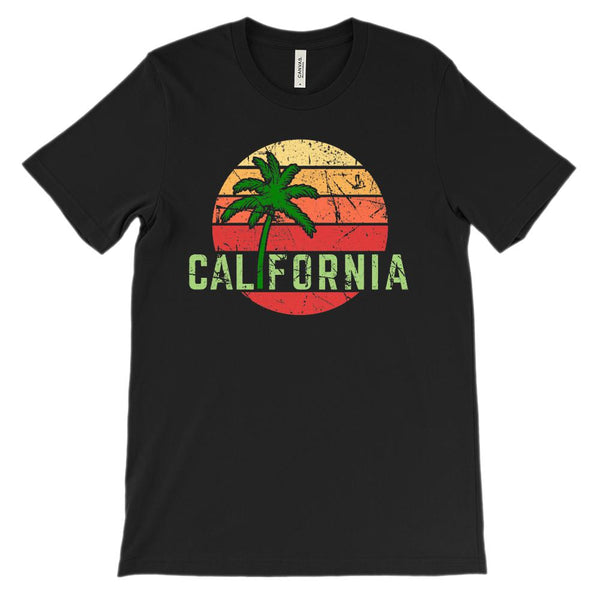 (Unisex BC 3001 Soft Tee) California Palm Sunset Graphic T-Shirt Tee BOXELS