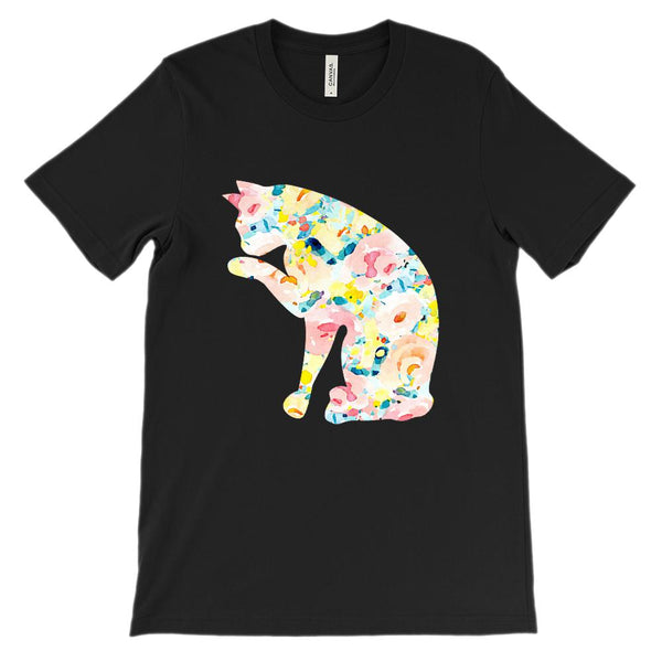 (Unisex BC 3001 Soft Tee) Cat Art Silhouette Licking Paw Graphic T-Shirt Tee BOXELS