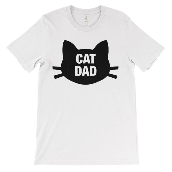 (Unisex BC 3001 Soft Tee) Cat Dad Face Whiskers (black artwork) Graphic T-Shirt Tee BOXELS
