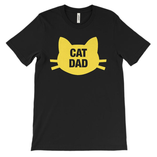 (Unisex BC 3001 Soft Tee) Cat Dad Face Whiskers (yellow artwork) Graphic T-Shirt Tee BOXELS