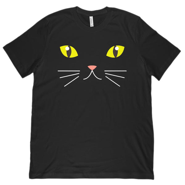 (Unisex BC 3001 Soft Tee) Cat Kitten Face Whiskers Halloween Graphic T-Shirt Tee BOXELS