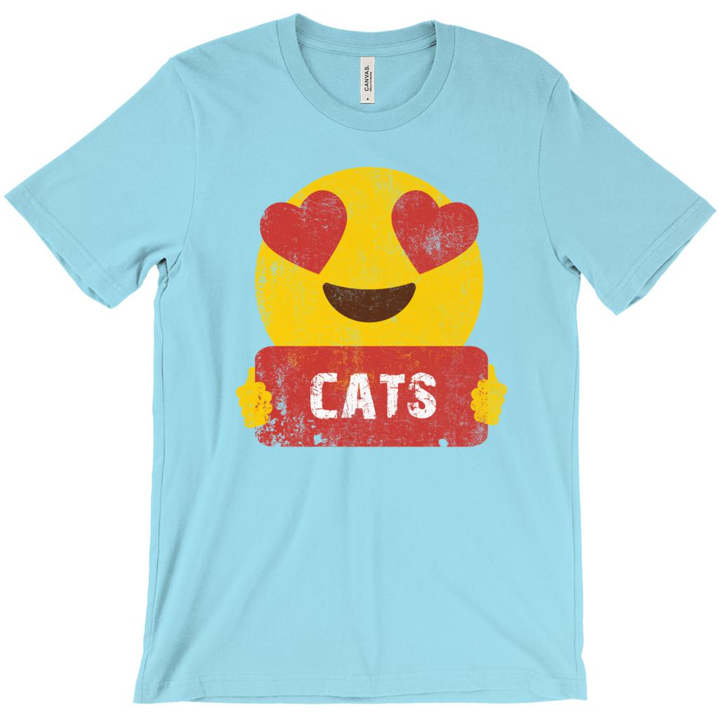 (Unisex BC 3001 Soft Tee) Cats Emoji Heart Eyes Love Graphic T-Shirt Tee BOXELS