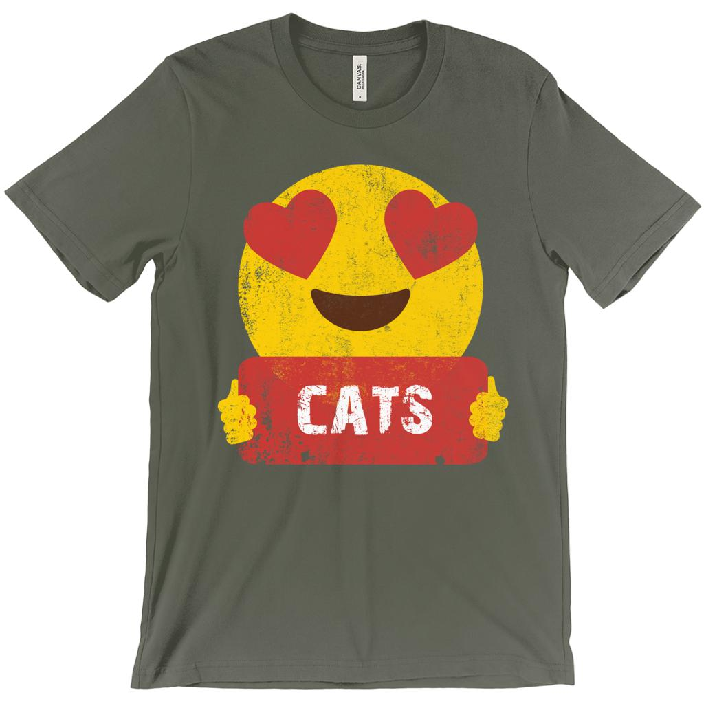 (Unisex BC 3001 Soft Tee) Cats Emoji Heart Eyes Love