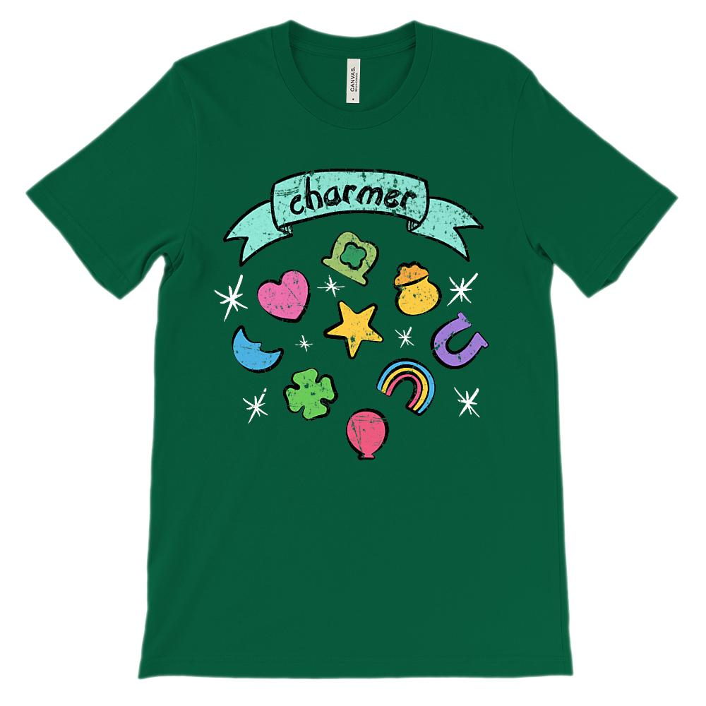 (Unisex BC 3001 Soft Tee) Charmer Parody Marshmallow Cereal St. Patrick's Day Graphic T-Shirt Tee BOXELS