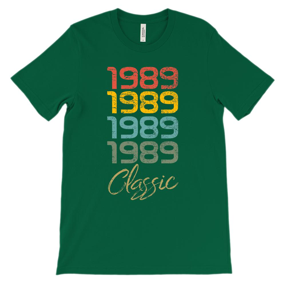 (Unisex BC 3001 Soft Tee) Classic 4 year 1989 Retro Graphic T-Shirt Tee BOXELS