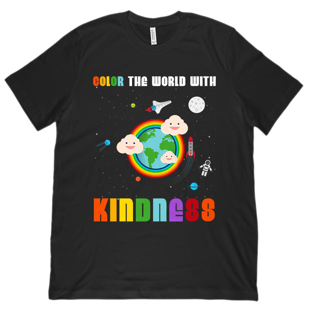 (Unisex BC 3001 Soft Tee) Color the World with Kindness Space Tee