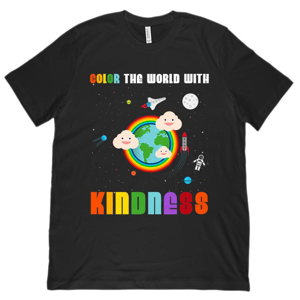 (Unisex BC 3001 Soft Tee) Color the World with Kindness Space Tee Graphic T-Shirt Tee BOXELS