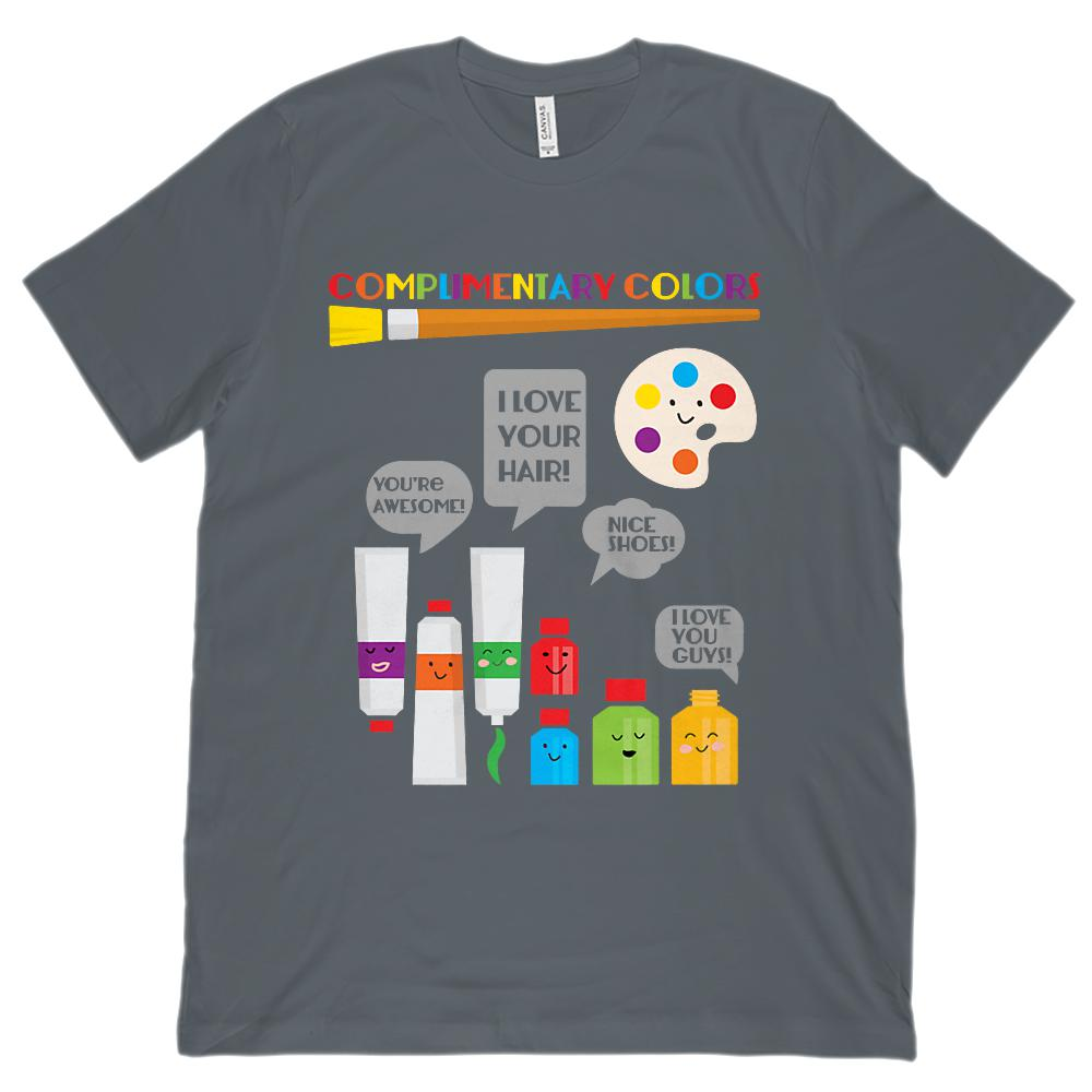 (Unisex BC 3001 Soft Tee) Complimentary Colors Art Teacher Rainbow Graphic T-Shirt Tee BOXELS