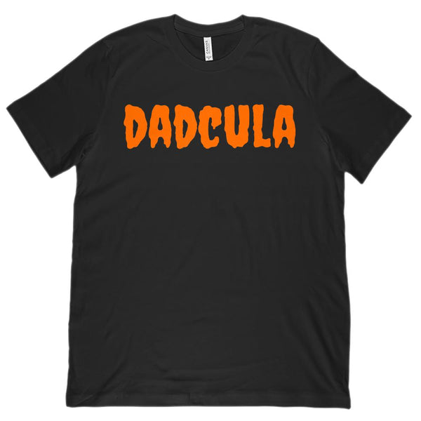 (Unisex BC 3001 Soft Tee) Dadcula (Dracula Dad) Orange Font Halloween Graphic T-Shirt Tee BOXELS