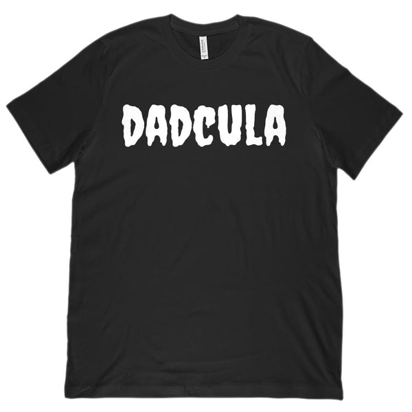 (Unisex BC 3001 Soft Tee) Dadcula (Dracula Dad) White Font Halloween Graphic T-Shirt Tee BOXELS