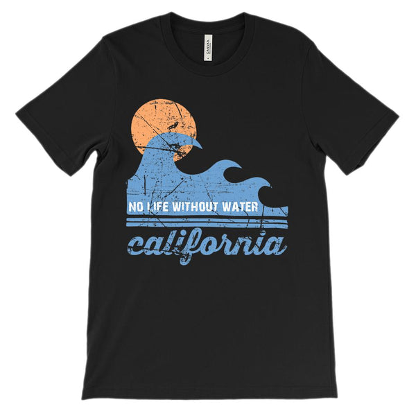 (Unisex BC 3001 Soft Tee Dark Tees) No Life Without Water California Graphic T-Shirt Tee BOXELS
