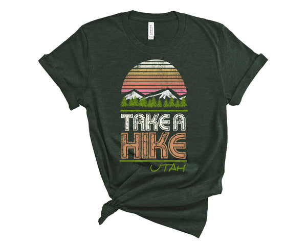 (Unisex BC 3001 Soft Tee - Darker Tees) Take a Hike Utah (green) Graphic T-Shirt Tee BOXELS