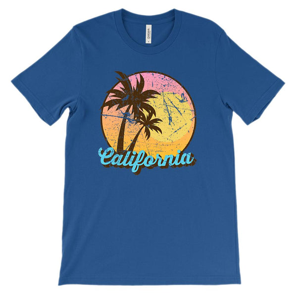 (Unisex BC 3001 Soft Tee - Darks) California State Sunset Palms Graphic T-Shirt Tee BOXELS