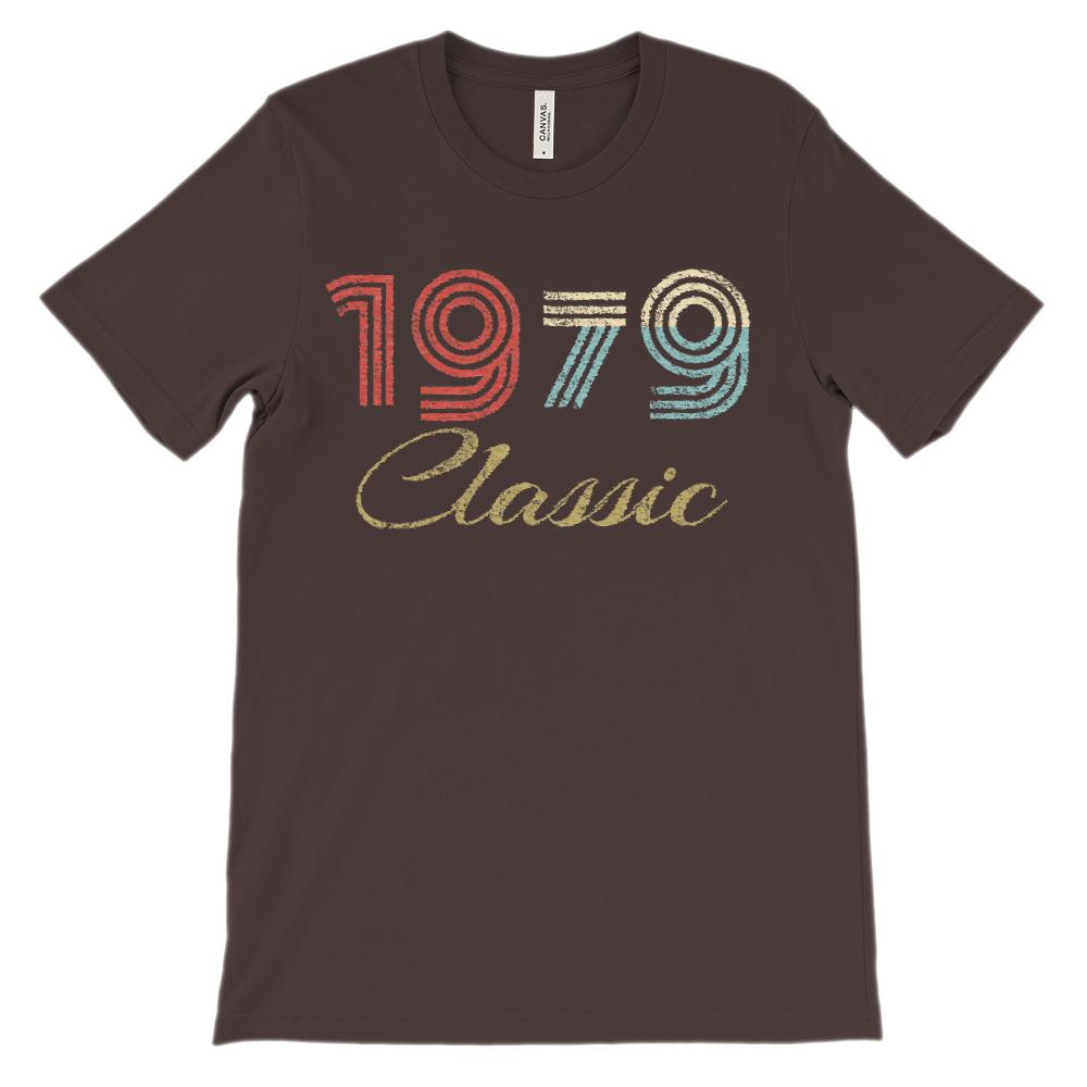 (Unisex BC 3001 Soft Tee - Darks) Classic 1 Year 1979 Graphic T-Shirt Tee BOXELS