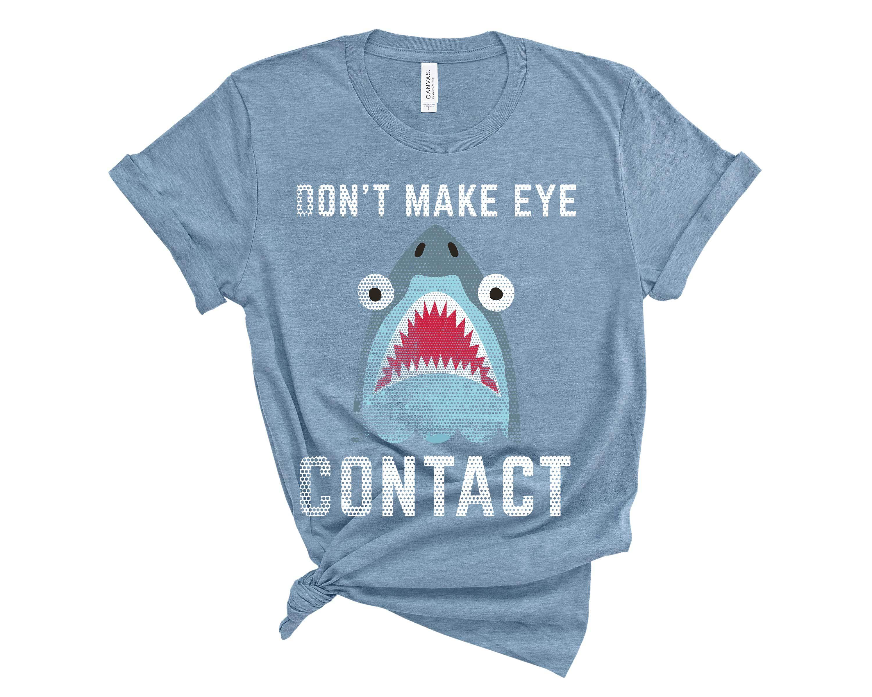 (Unisex BC 3001 Soft Tee - Darks) Don't Make Eye Contact Shark Graphic T-Shirt Tee BOXELS