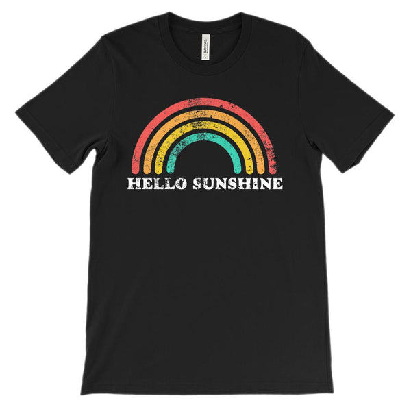 (Unisex BC 3001 Soft Tee - Darks) Hello Sunshine Retro Vintage Rainbow Graphic T-Shirt Tee BOXELS