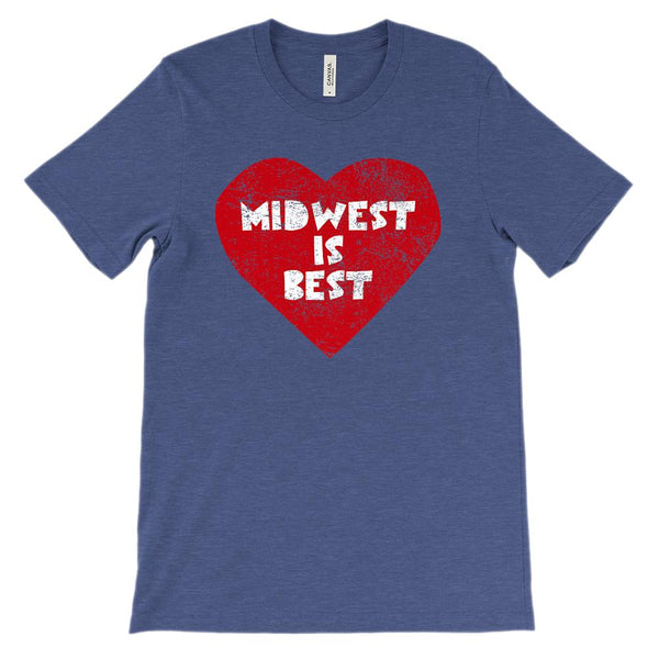 (Unisex BC 3001 Soft Tee - Darks) Iconic State Scenery Midwest is Best Graphic T-Shirt Tee BOXELS