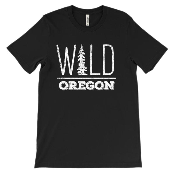 (Unisex BC 3001 Soft Tee Darks) Iconic State Scenery Oregon Wild Graphic T-Shirt Tee BOXELS