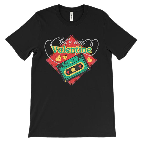 (Unisex BC 3001 Soft Tee - Darks) Let's Mix Valentine Tape Graphic T-Shirt Tee BOXELS