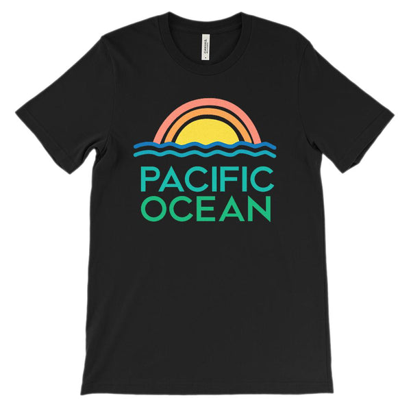 (Unisex BC 3001 Soft Tee - darks) Pacific Ocean Retro Sunset Graphic T-Shirt Tee BOXELS