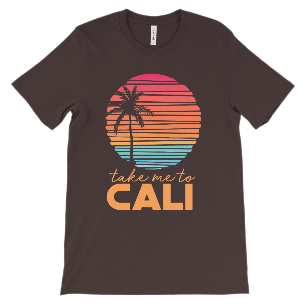 (Unisex BC 3001 Soft Tee Darks) Take me to Cali (California) Sunset Beach Palm Graphic T-Shirt Tee BOXELS
