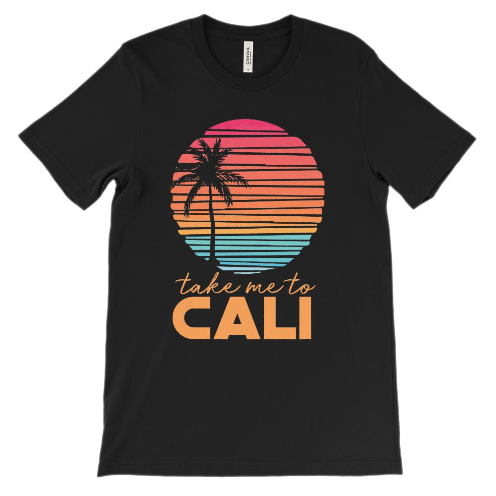 (Unisex BC 3001 Soft Tee Darks) Take me to Cali (California) Sunset Beach Palm
