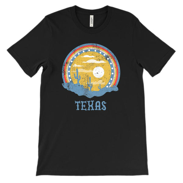(Unisex BC 3001 Soft Tee Darks) Texas Sunset Cacti Graphic T-Shirt Tee BOXELS