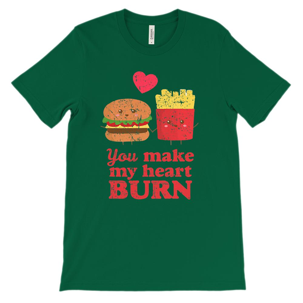 (Unisex BC 3001 Soft Tee - Darks) You Make My Heart Burn Fast Food Love Graphic T-Shirt Tee BOXELS