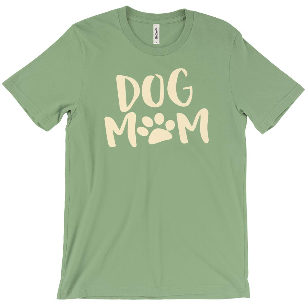 "(Unisex BC 3001 Soft Tee) Dog Mom Paw Print ""O"" Pet Love Tee (Cream Font) Graphic T-Shirt Tee BOXELS"