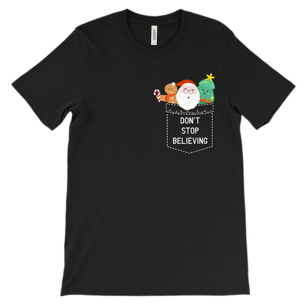 (Unisex BC 3001 Soft Tee) Don't Stop Believing Fake Pocket Holidays Santa Graphic T-Shirt Tee BOXELS