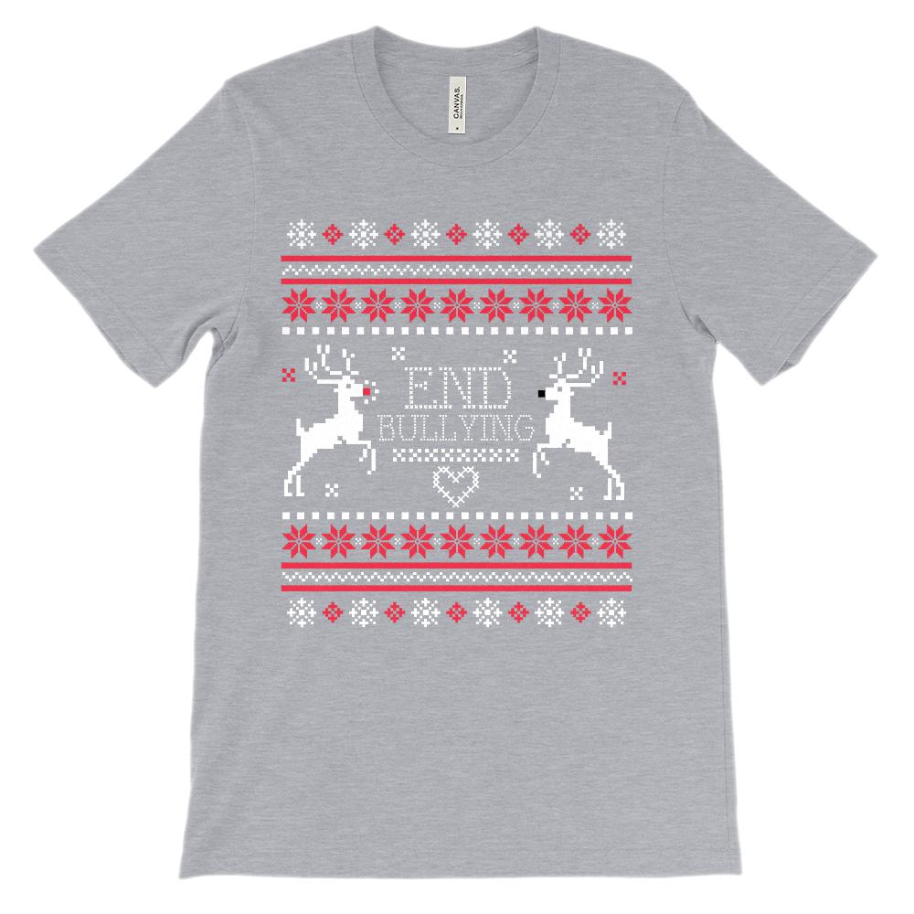 (Unisex BC 3001 Soft Tee) End Bullying Rudolf Ugly Sweater Graphic T-Shirt Tee BOXELS