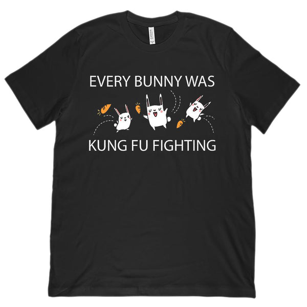 (Unisex BC 3001 Soft Tee) Every Bunny Was Kung Fu Fighting Graphic T-Shirt Tee BOXELS
