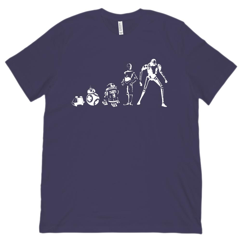 (Unisex BC 3001 Soft Tee) Evolution of the Robots Graphic T-Shirt Tee BOXELS